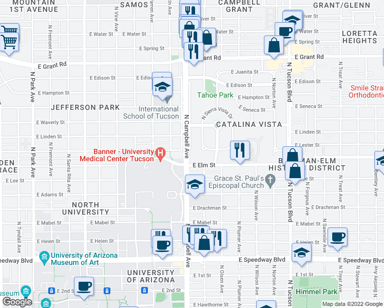 map of restaurants, bars, coffee shops, grocery stores, and more near 1732 North Campbell Avenue in Tucson