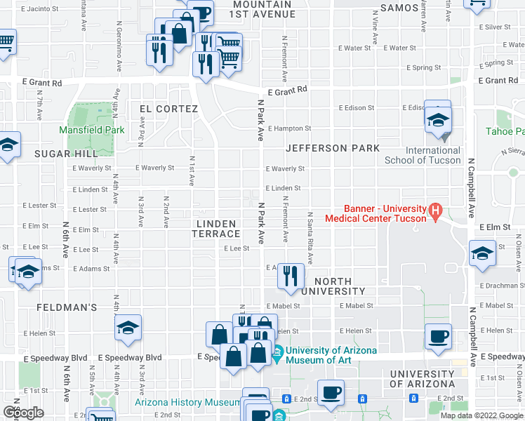 map of restaurants, bars, coffee shops, grocery stores, and more near 1804 North Park Avenue in Tucson