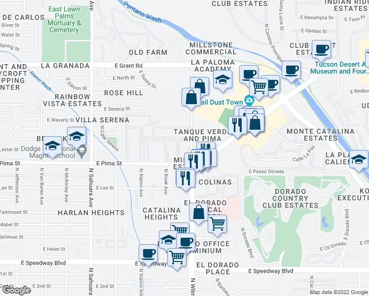 map of restaurants, bars, coffee shops, grocery stores, and more near 1701 North Wilmot Road in Tucson