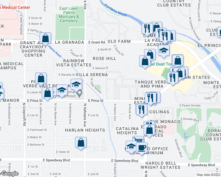 map of restaurants, bars, coffee shops, grocery stores, and more near 6001 East Pima Street in Tucson