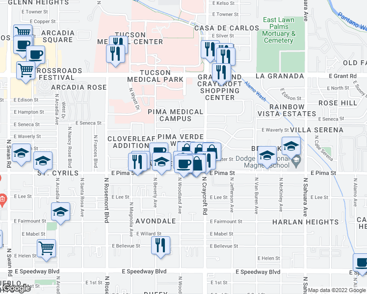 map of restaurants, bars, coffee shops, grocery stores, and more near 1832 North Woodland Avenue in Tucson
