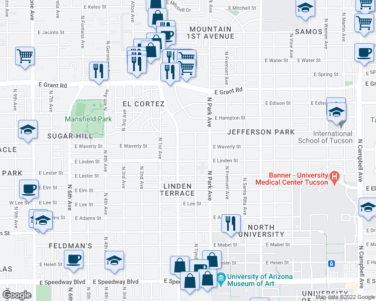 map of restaurants, bars, coffee shops, grocery stores, and more near 826 East Waverly Street in Tucson