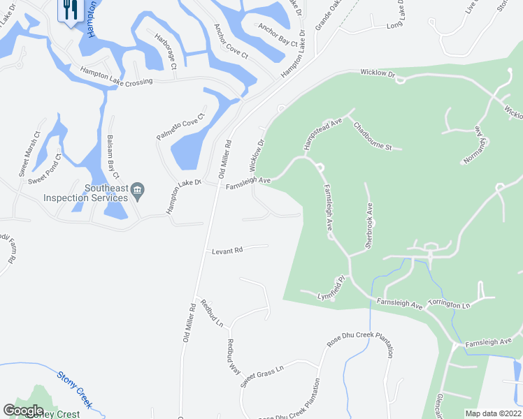 map of restaurants, bars, coffee shops, grocery stores, and more near 176 Wicklow Drive in Bluffton