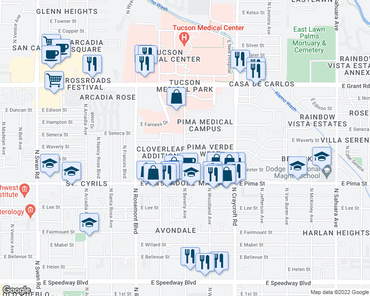 map of restaurants, bars, coffee shops, grocery stores, and more near 5300 East Waverly Street in Tucson