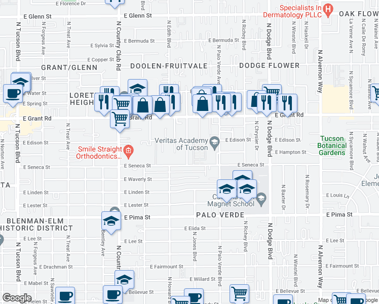 map of restaurants, bars, coffee shops, grocery stores, and more near 2136 North Rita Avenue in Tucson
