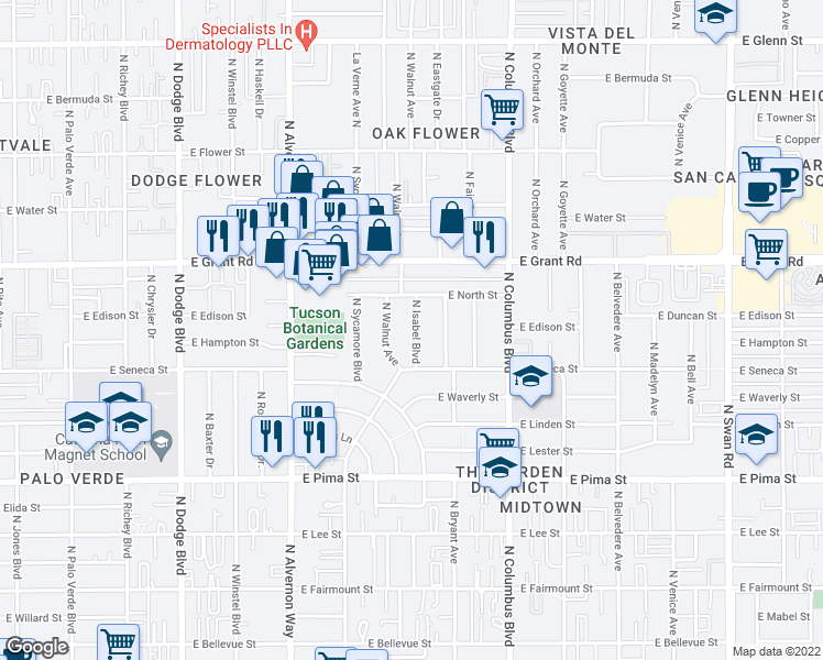 map of restaurants, bars, coffee shops, grocery stores, and more near 2201 North Isabel Boulevard in Tucson