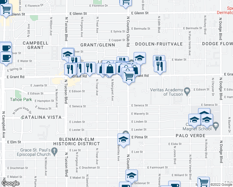 map of restaurants, bars, coffee shops, grocery stores, and more near 2912 East Edison Street in Tucson