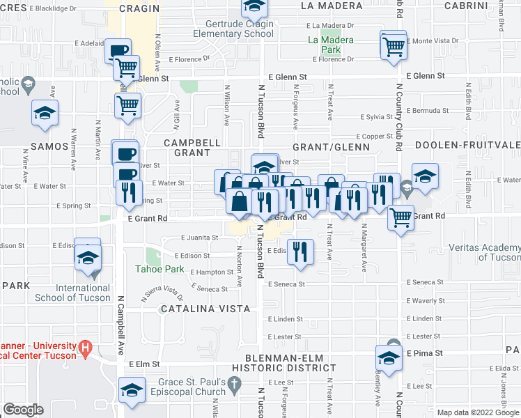 map of restaurants, bars, coffee shops, grocery stores, and more near North Tucson Boulevard in Tucson