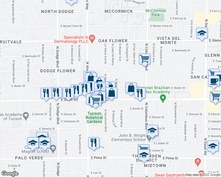 map of restaurants, bars, coffee shops, grocery stores, and more near 2456 North Sycamore Boulevard in Tucson