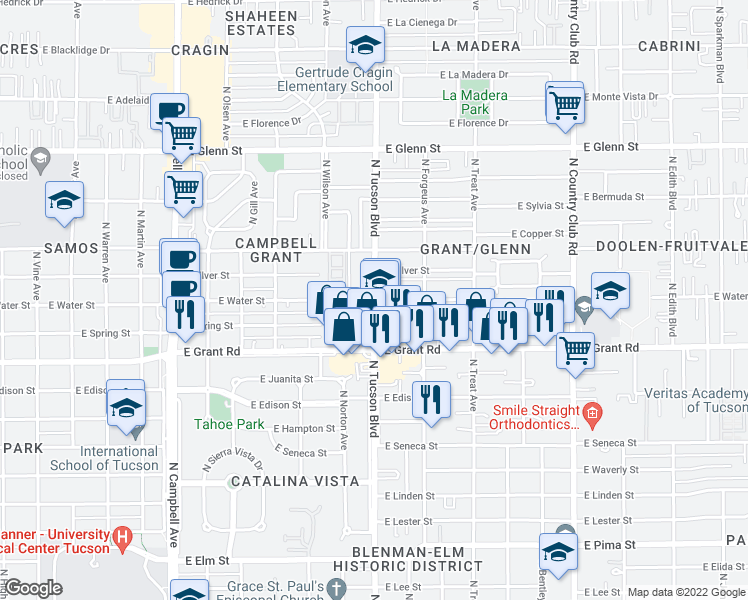 map of restaurants, bars, coffee shops, grocery stores, and more near N Tucson Blvd & E Water St in Tucson
