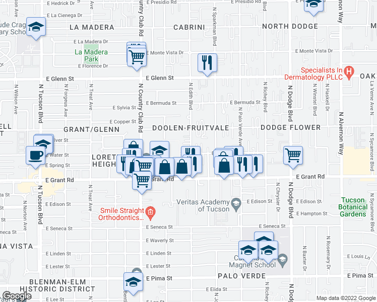 map of restaurants, bars, coffee shops, grocery stores, and more near 3261 East Water Street in Tucson