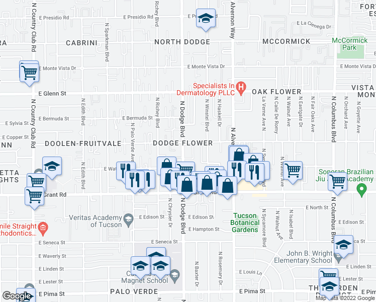 map of restaurants, bars, coffee shops, grocery stores, and more near 2550 N Dodge Blvd in Tucson