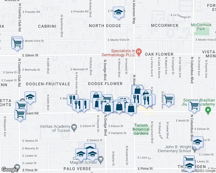 map of restaurants, bars, coffee shops, grocery stores, and more near 2550 North Dodge Boulevard in Tucson