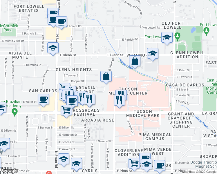 map of restaurants, bars, coffee shops, grocery stores, and more near 4968 North Santa Rosa Avenue in Tucson