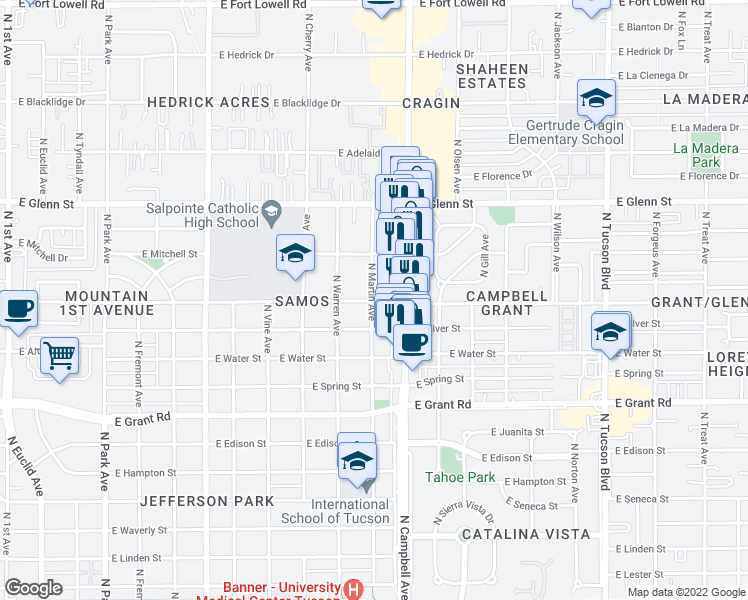 map of restaurants, bars, coffee shops, grocery stores, and more near 1805 E Copper St in Tucson