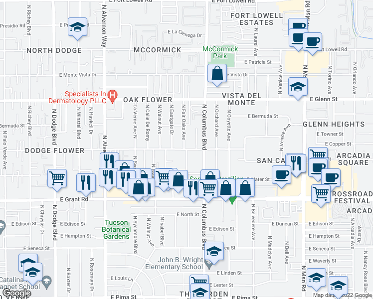 map of restaurants, bars, coffee shops, grocery stores, and more near East Flower Street & North Fair Oaks Avenue in Tucson