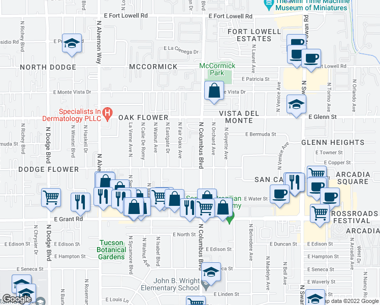 map of restaurants, bars, coffee shops, grocery stores, and more near 4253 East Flower Street in Tucson