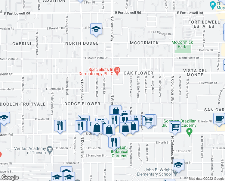 map of restaurants, bars, coffee shops, grocery stores, and more near 2677 N Alvernon Way in Tucson