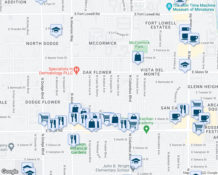 map of restaurants, bars, coffee shops, grocery stores, and more near 4134 East Bermuda Street in Tucson