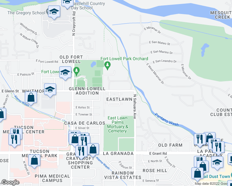 map of restaurants, bars, coffee shops, grocery stores, and more near 2791 North Saramano Lane in Tucson