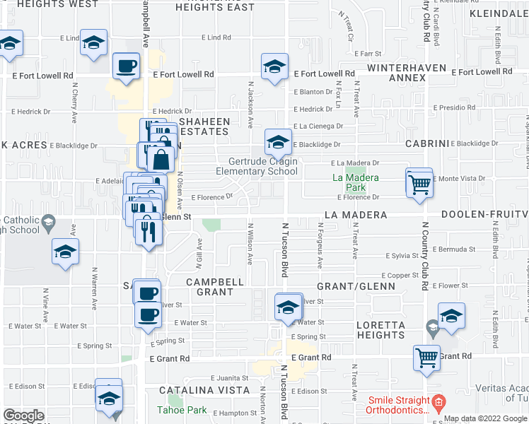 map of restaurants, bars, coffee shops, grocery stores, and more near 2333 East Glenn Street in Tucson