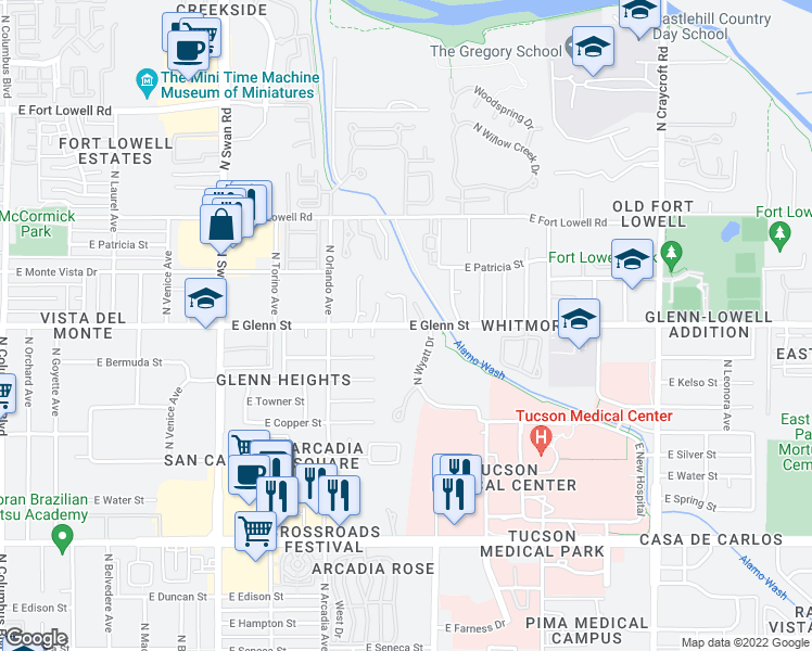 map of restaurants, bars, coffee shops, grocery stores, and more near East Glenn Street in Tucson