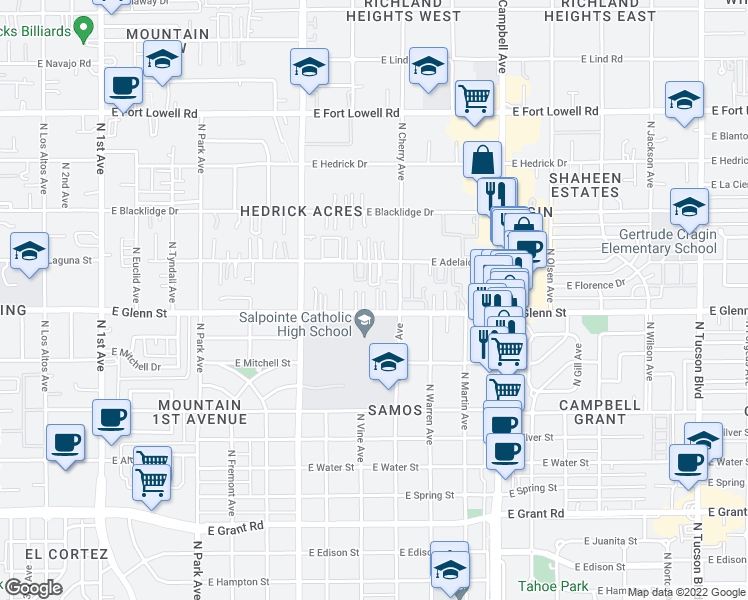 map of restaurants, bars, coffee shops, grocery stores, and more near 1509 East Glenn Street in Tucson