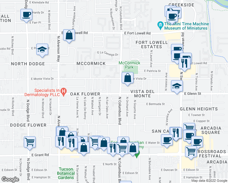 map of restaurants, bars, coffee shops, grocery stores, and more near 2801 North Columbus Boulevard in Tucson