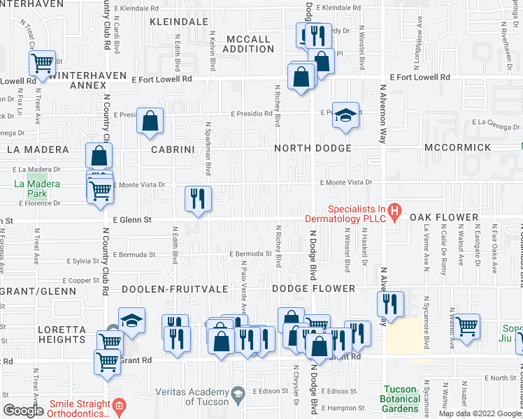 map of restaurants, bars, coffee shops, grocery stores, and more near 3533 East Glenn Street in Tucson