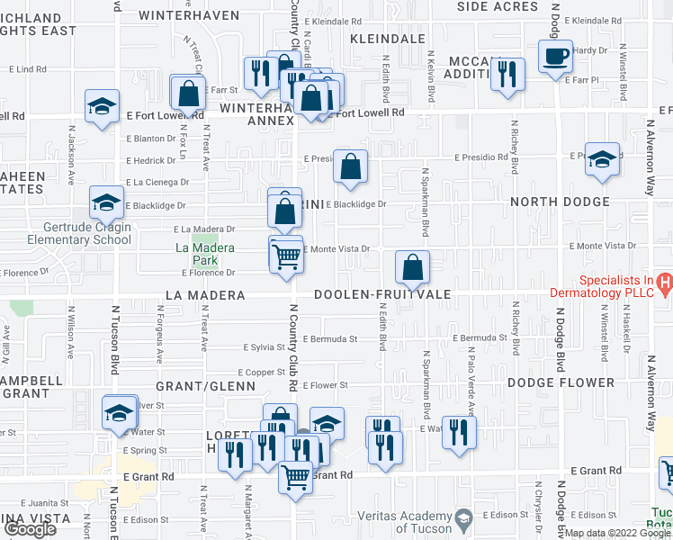 map of restaurants, bars, coffee shops, grocery stores, and more near 2837 North Flanwill Boulevard in Tucson