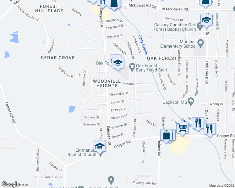 map of restaurants, bars, coffee shops, grocery stores, and more near Woodville Drive in Jackson