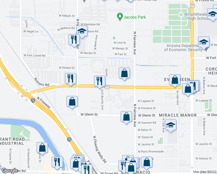 map of restaurants, bars, coffee shops, grocery stores, and more near West Miracle Mile in Tucson