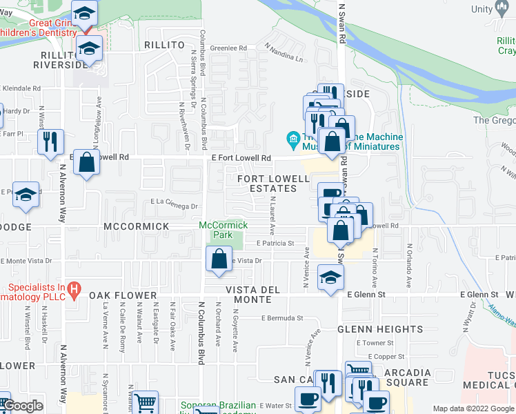map of restaurants, bars, coffee shops, grocery stores, and more near 4417 E La Cienega St in Tucson