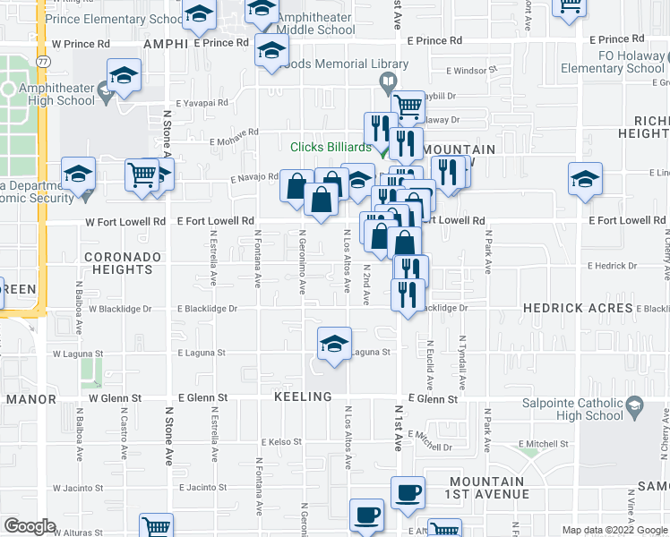 map of restaurants, bars, coffee shops, grocery stores, and more near 460 East Delano Street in Tucson