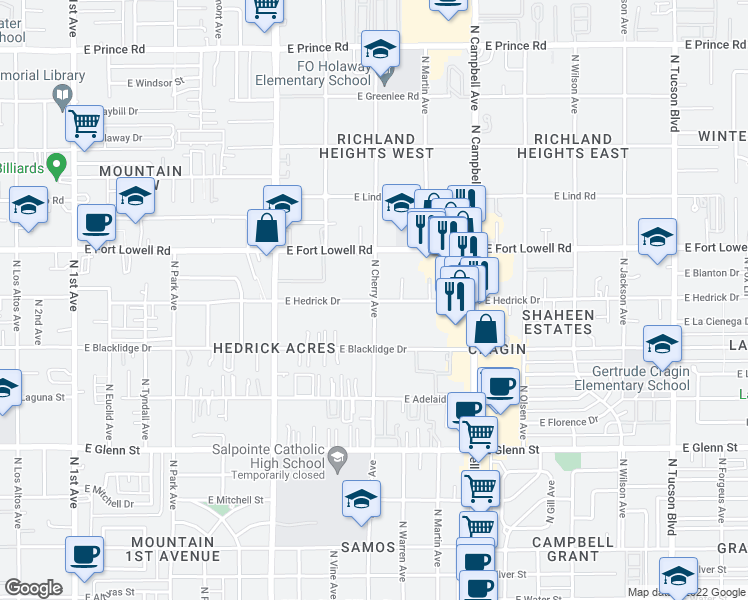 map of restaurants, bars, coffee shops, grocery stores, and more near N Cherry Ave & E Hedrick Dr in Tucson