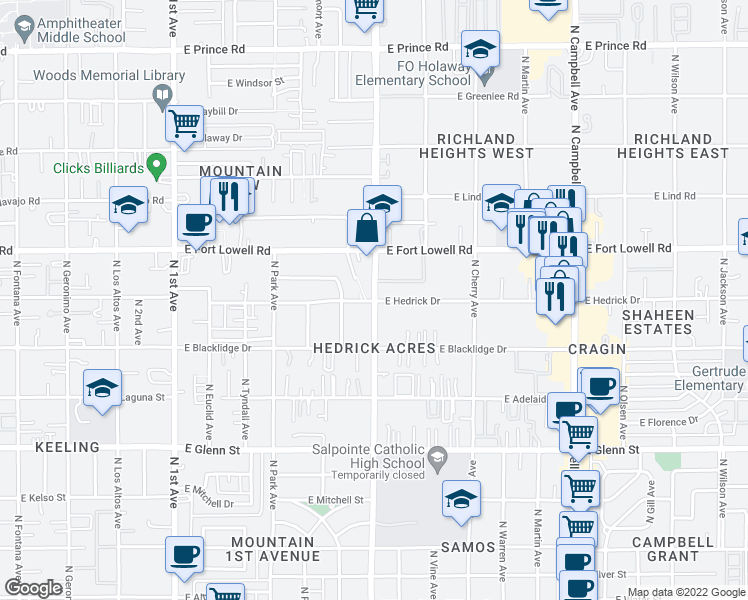 map of restaurants, bars, coffee shops, grocery stores, and more near N Mountain Ave & E Hedrick Dr in Tucson