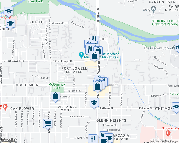 map of restaurants, bars, coffee shops, grocery stores, and more near 3121 North Swan Road in Tucson
