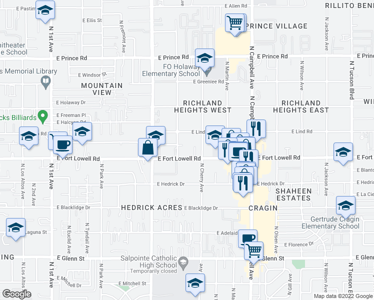 map of restaurants, bars, coffee shops, grocery stores, and more near 1445 East Fort Lowell Road in Tucson