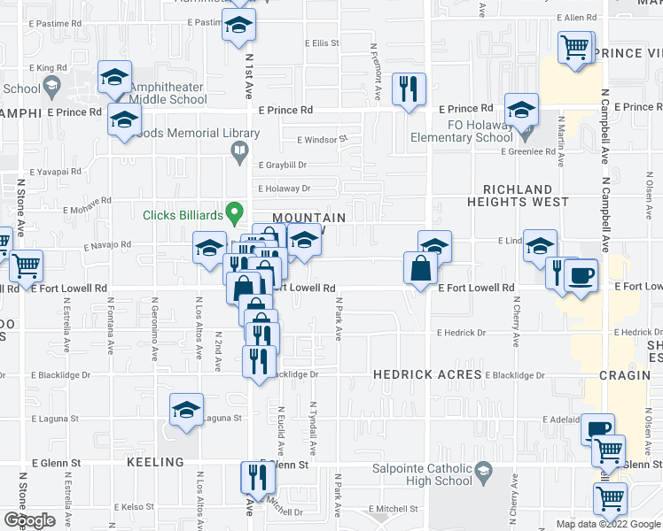 map of restaurants, bars, coffee shops, grocery stores, and more near 936 E Navajo Rd in Tucson