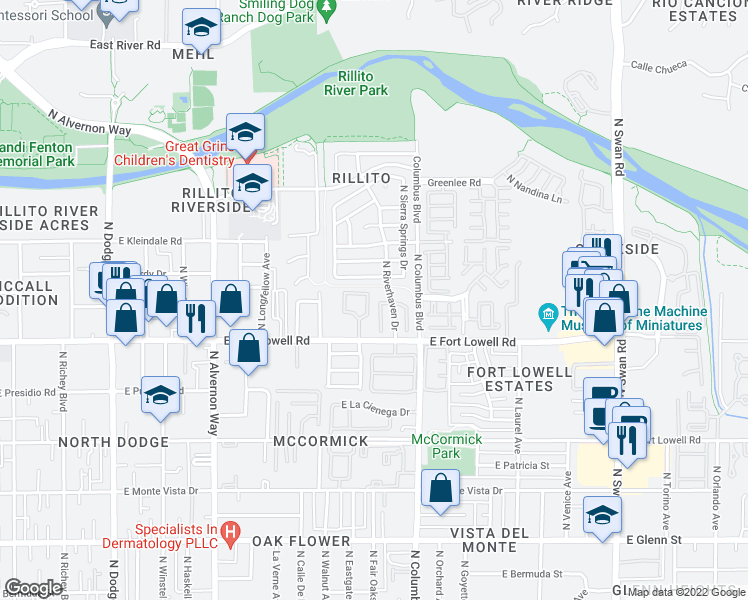 map of restaurants, bars, coffee shops, grocery stores, and more near 3261 North Surging Waters Place in Tucson
