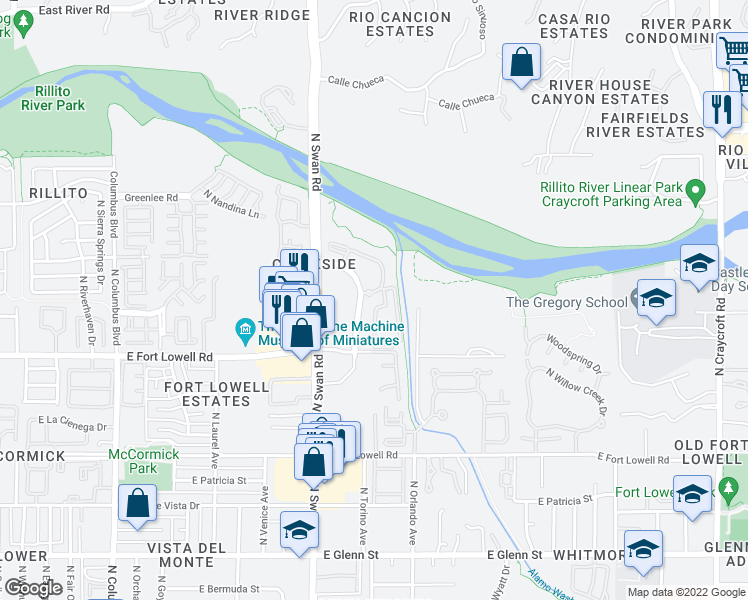 map of restaurants, bars, coffee shops, grocery stores, and more near 3300 North Paseo De Los Rios in Tucson