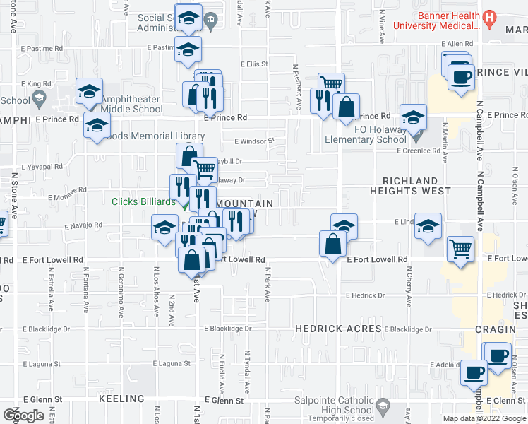 map of restaurants, bars, coffee shops, grocery stores, and more near 942 East Halcyon Road in Tucson