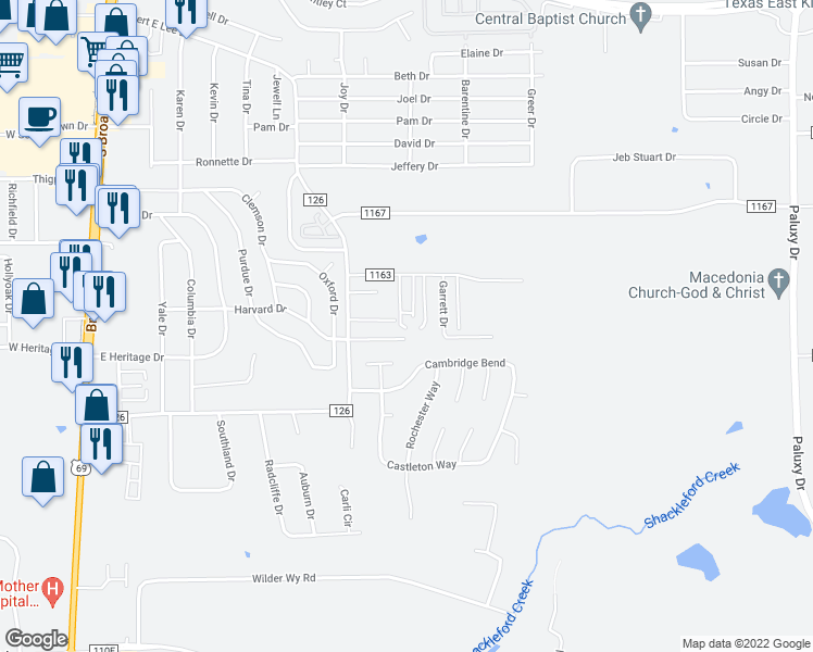 map of restaurants, bars, coffee shops, grocery stores, and more near 8327 El Cerrito Drive in Tyler