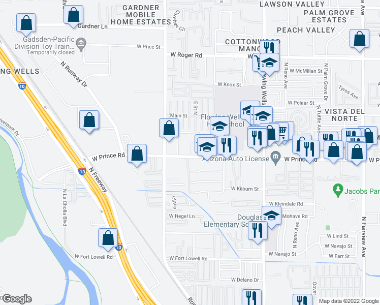map of restaurants, bars, coffee shops, grocery stores, and more near 1700 West Prince Road in Tucson