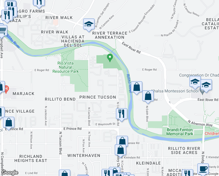 map of restaurants, bars, coffee shops, grocery stores, and more near 3875 North Country Club Road in Tucson