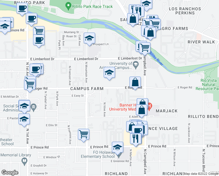 map of restaurants, bars, coffee shops, grocery stores, and more near 1448 East Roger Road in Tucson