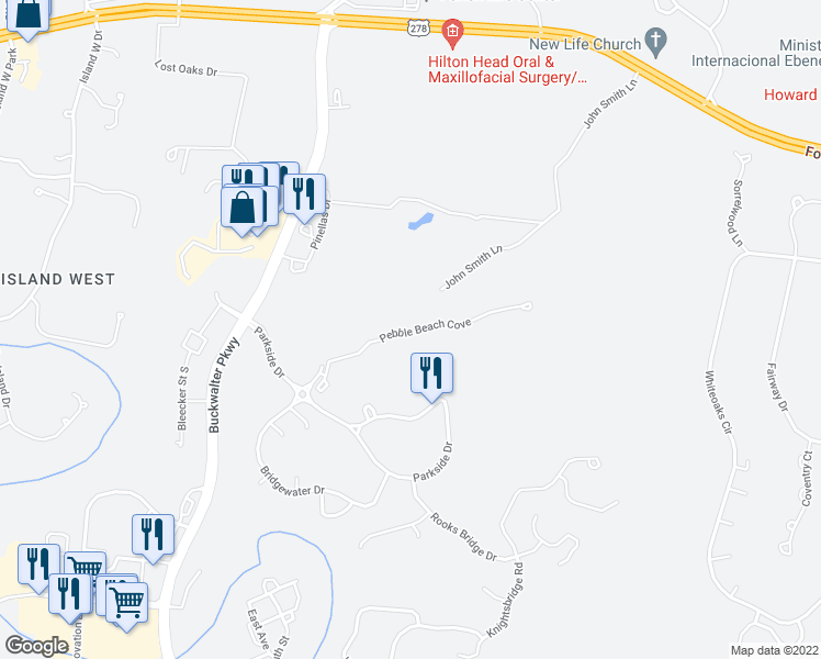 map of restaurants, bars, coffee shops, grocery stores, and more near 50 Pebble Beach Cove in Bluffton