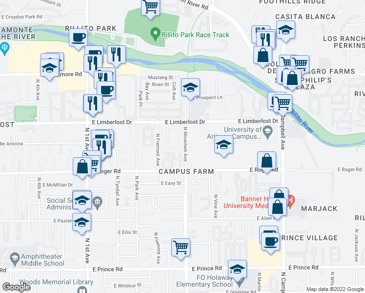 map of restaurants, bars, coffee shops, grocery stores, and more near 4054-4198 North Mountain Avenue in Tucson