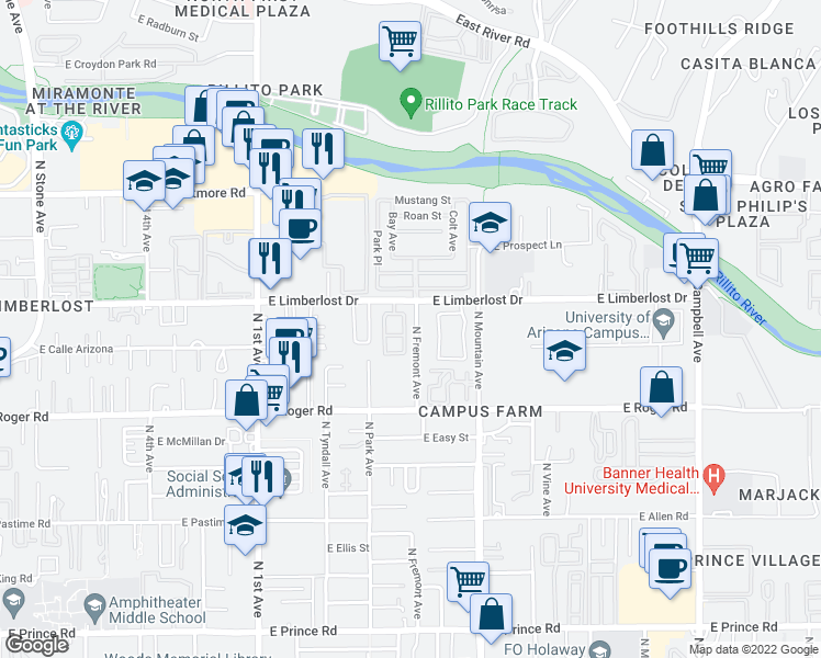 map of restaurants, bars, coffee shops, grocery stores, and more near 4089 North Fremont Avenue in Tucson