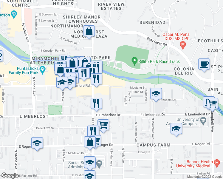 map of restaurants, bars, coffee shops, grocery stores, and more near 794-850 East Wetmore Road in Tucson